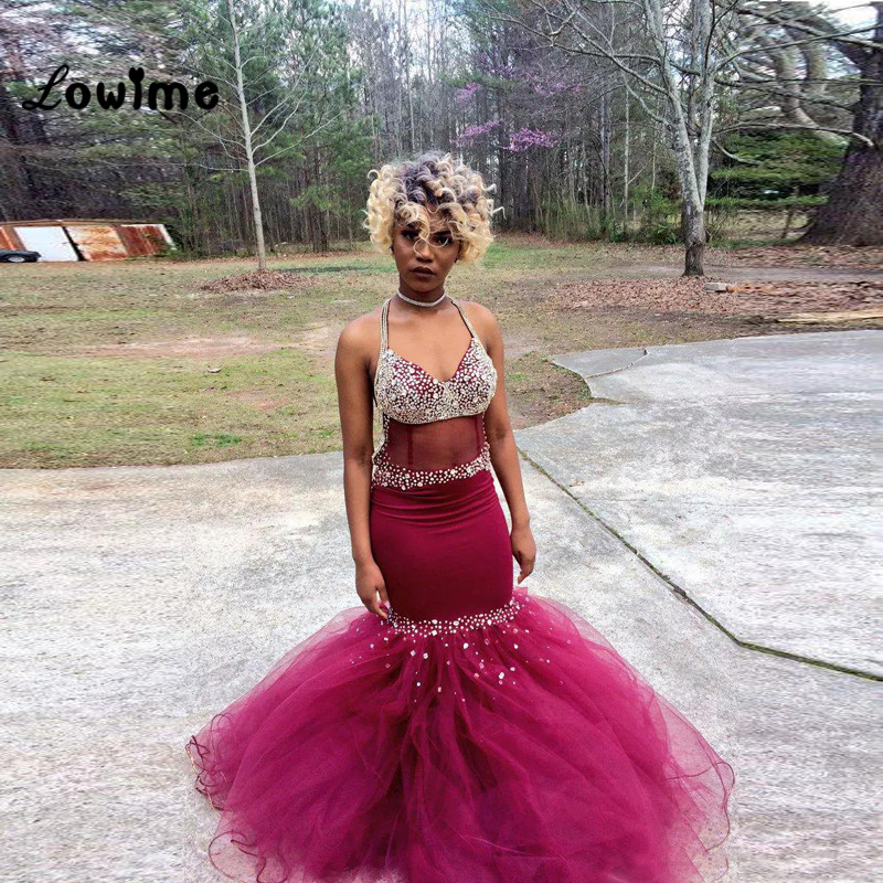 Red Strapless Mermaid Sparkly Prom Dress