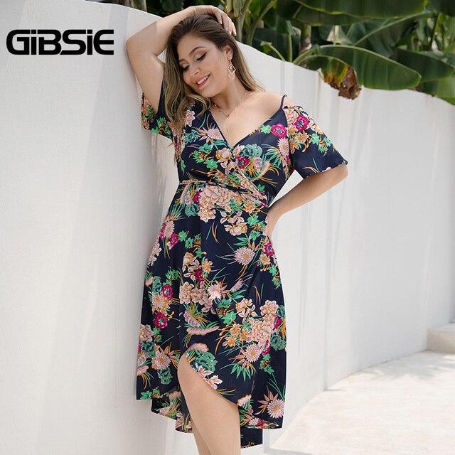 GIBSIE Plus Size Boho Floral Print Cami Wrap Dress Women Beach Summer Holiday Dress 2019 V-Neck Cold Shoulder Midi Dresses