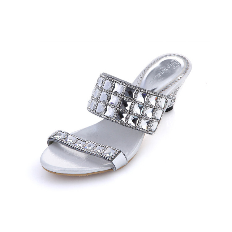 Весна-лето 2018 г. на высоком каблуке со стразами сандалии тапочки на танкетке-женская повседневная обувь размер 10; Бесплатная доставка