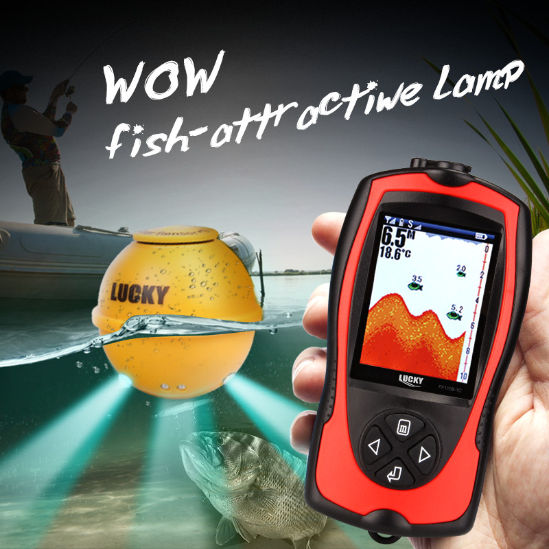 Lucky FF1108-1CWLA Wireless Fish Finder Color Screen Rechargeable Remote Sonar Sensor 45m/147feet Water Depth Fish Finders эхолот lucky ff1108 1c