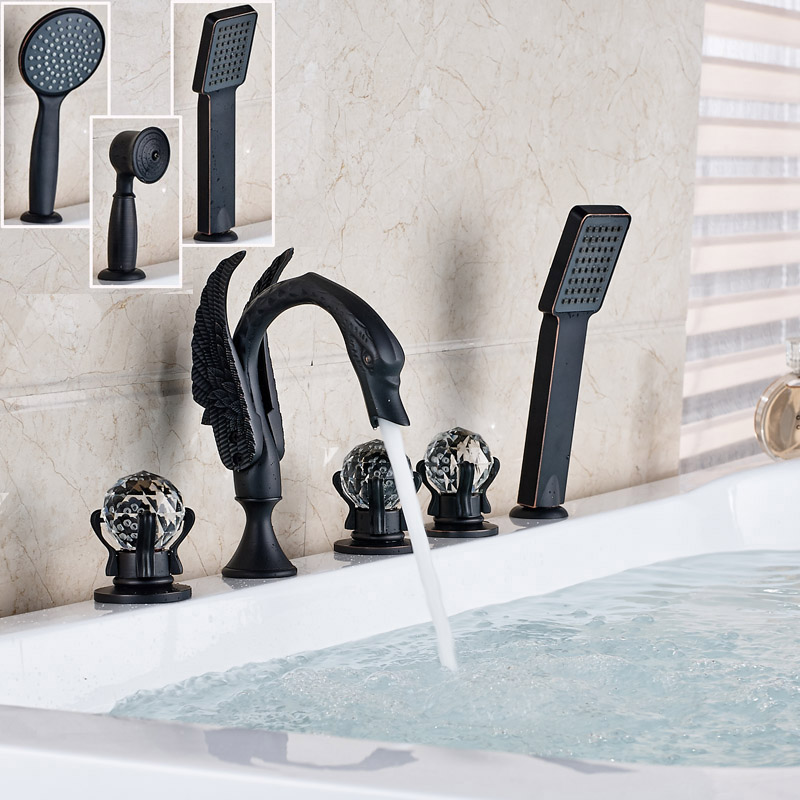 Widespread Swan Shape Bathroom Tub Faucet Deck Mounted Three Cristal Handles Bathtub Hot and Cold Mixer Taps