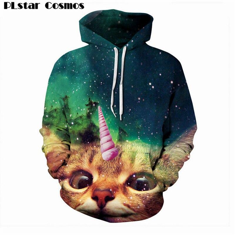 PLstar Cosmos Hooded shirts Unicat unicorn Cats Kitten Animal Galaxy print 3d hoodie Women Men Sweatshirts Outfits Casual Sweats