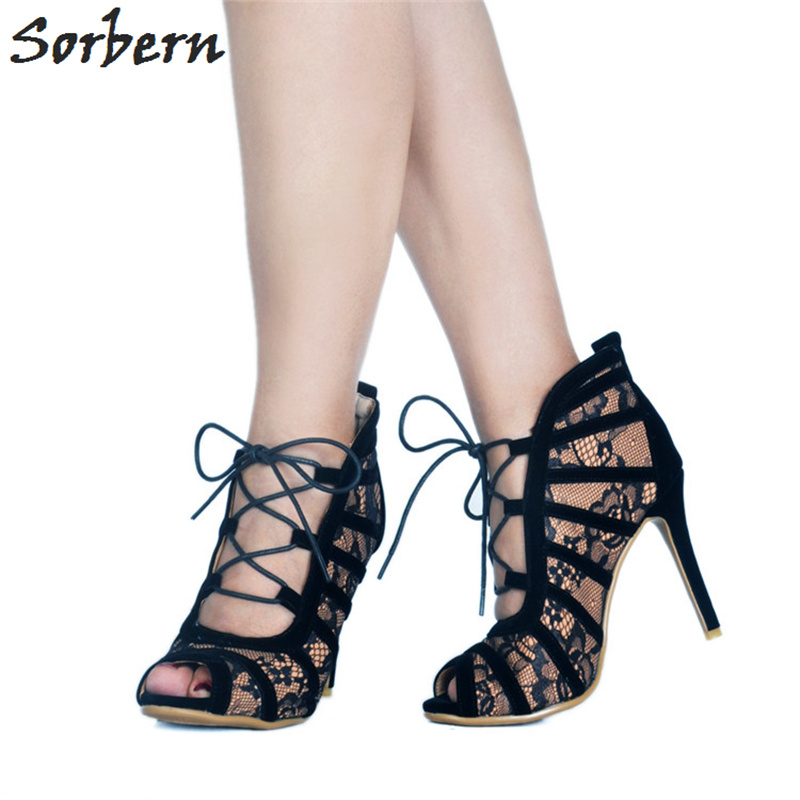 Sorbern Elegant Black Lace Women Pumps High Heels Open Toe Gladiator Style Pumps Shoes Summer Style Stilettos Open Toe Heels sorbern open toe shoes 42 crossdresser exotic celebrity heels red lace heels sexy pumps big size women shoes white black