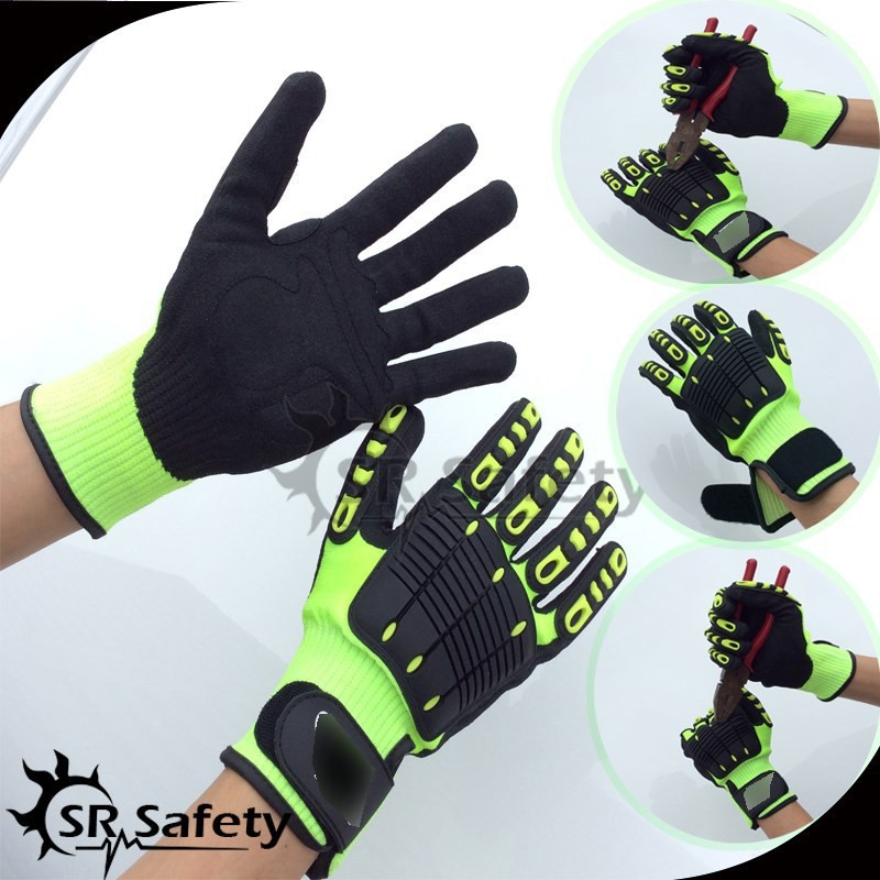 SRSafety 3 Pairs Anti Vibration Arbeitshandschuhe Vibration und Schock Handschuhe Anti Auswirkungen Mechanik WorkGloves, Cut Level 5 image