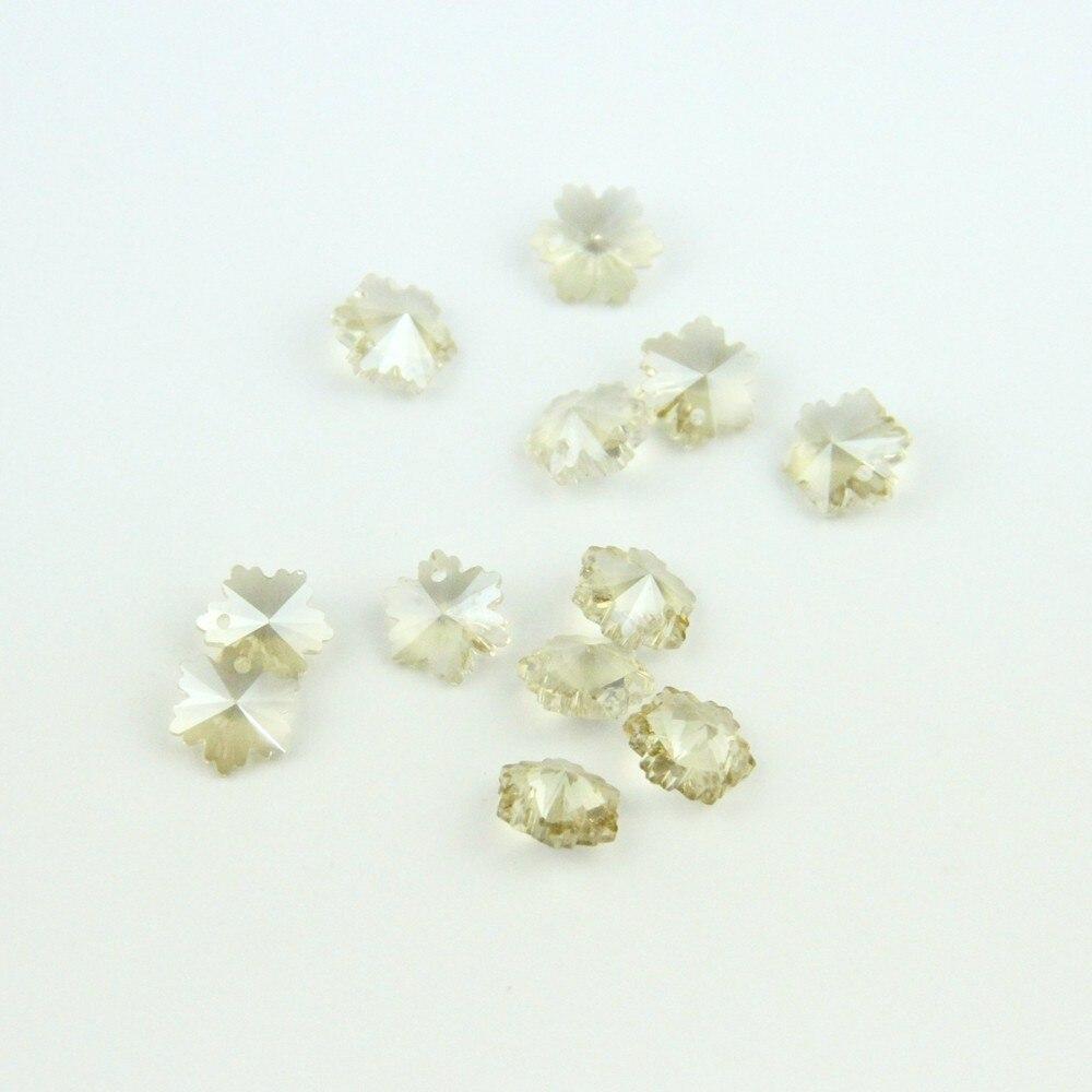 14mm Cognac Crystal Prism Pendant Snowflake Beads Crystal Loose 1 Hole Beads Glass Lighting Prism Pendant Beads