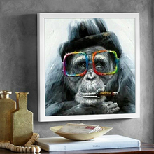 Ulight Canvas Wall Art Gorilla Monkey With Glasses And Pipe Animal Painting Abstract Modern Home Decoration Picture No Frame