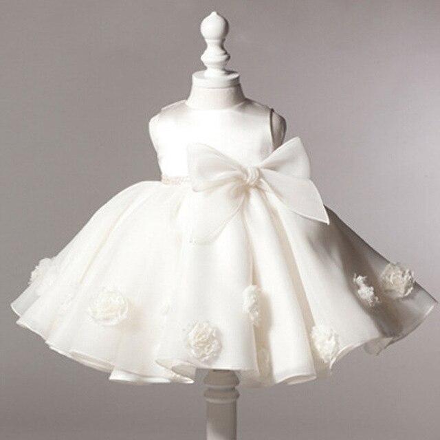 2015 Baby Girls Dresses Baby Girl Birthday Party Dress Wedding Lace 3D Rose Toddler Baptism Princess dresses for girls Robe bebe