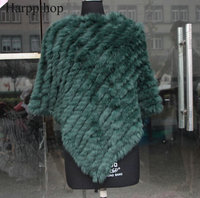 Free Shipping Spring Autumn Genuine Real Knitted Rabbit Fur Poncho Wrap Scarves Women Natural Rabbit Fur