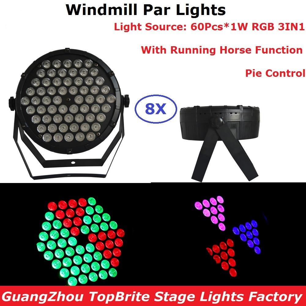 8XLot Windmill Par Lights 60X1W RGB 3IN1 LED Flat Par Cans Strobe DMX Console Party Dj Laser Bar Strobe Dimming Effect Projector цена и фото