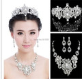 1set/lot Wholesale price high quality plated silver rhinestone pave crystal wedding bridal tiara+necklace+earrings jewelry set