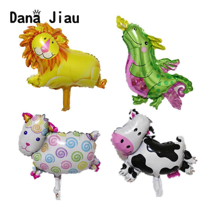 MINI animal foil birthday party balloons decoração coelho cabeça de Leão macaco zoo balão do casamento do feriado Presente Do Miúdo do bebê brinquedo