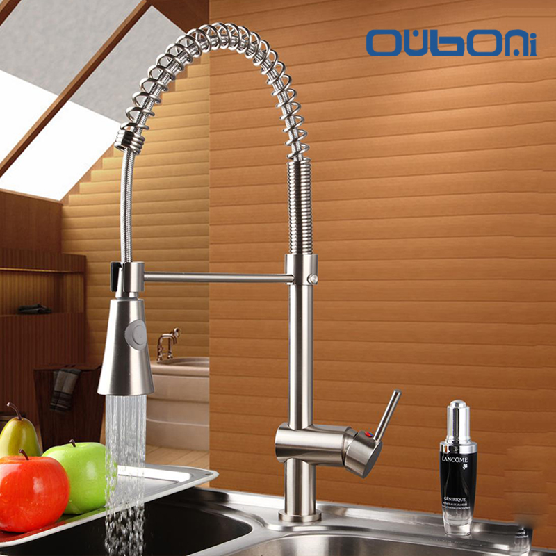 OUBONI New Arrival Brushed Nickel Kitchen Faucet Brass Swivel Pull Out Down Single Handle Deck Mounted Vessel Sink Mixer Tap new pull out sprayer kitchen faucet swivel spout vessel sink mixer tap single handle hole hot and cold
