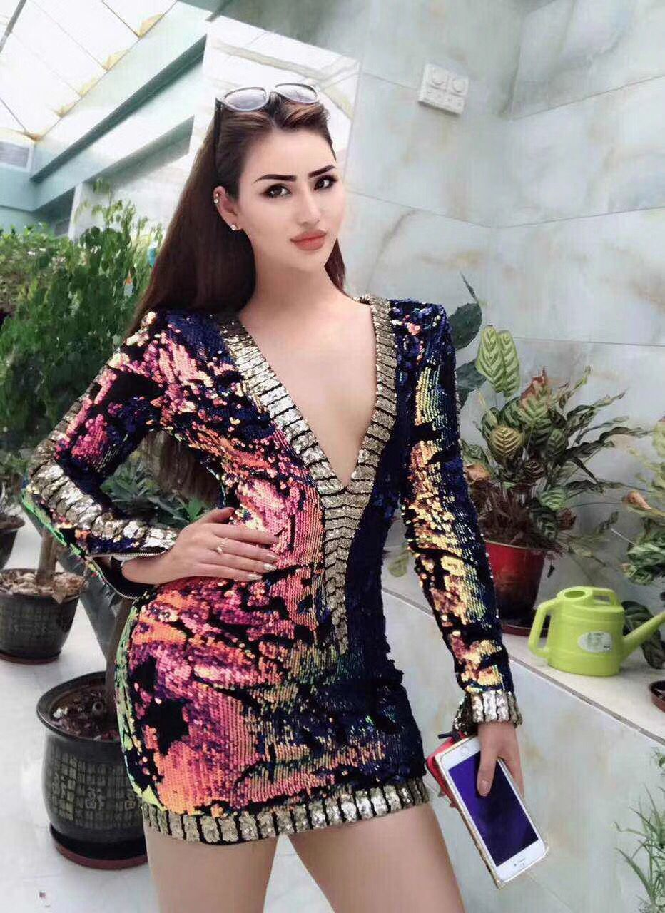 3 Colors Sexy Women Fashion Dress Long Sleeve Colorful Bright Bodycon Dress Evening Party Dress