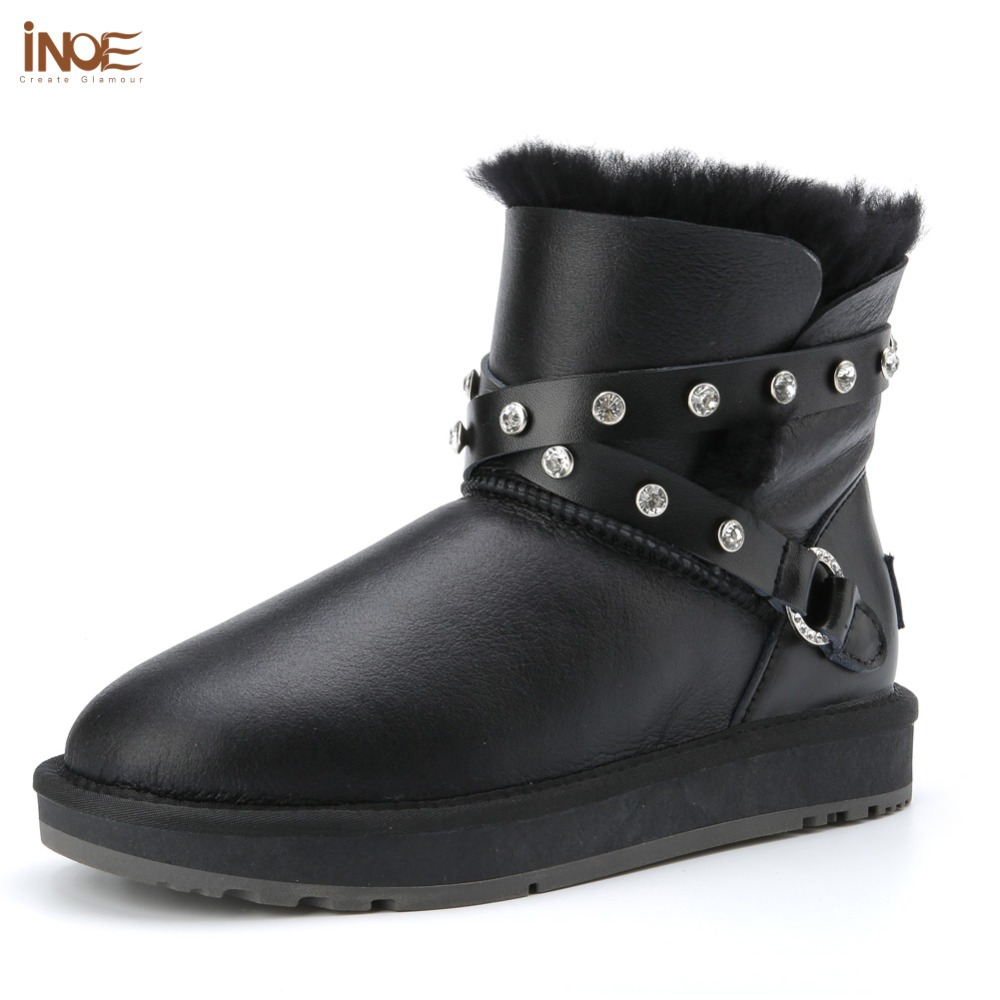 INOE fashion sheepskin leather women ankle winter snow boots for womans buckle natural fur lined short