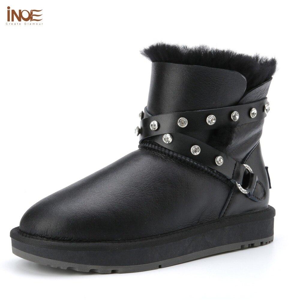 INOE الأزياء جلد الغنم النساء الكاحل الشتاء أحذية للنساء الطبيعي الفراء اصطف قصيرة الثلوج الأحذية للماء-في أحذية الكاحل من أحذية على  مجموعة 1