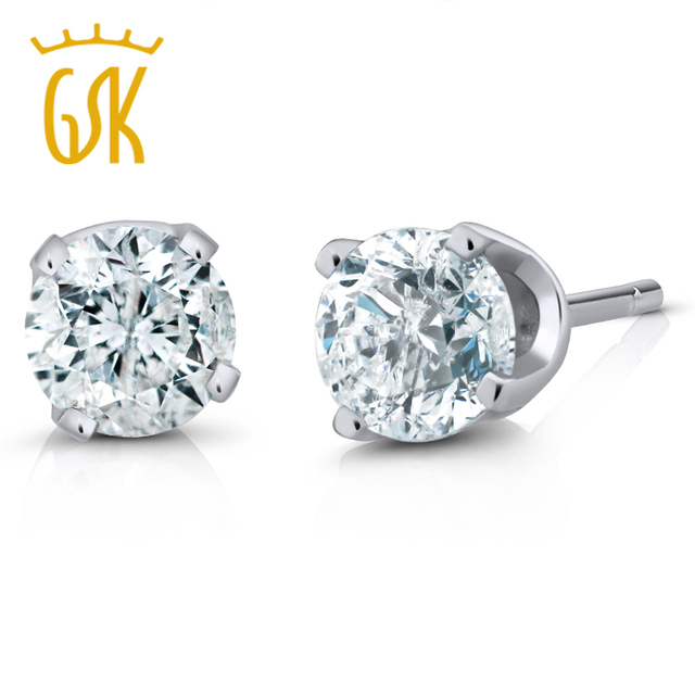 e2ca2192d1f US $125.99 10% OFF|GemStoneKing IGI Certified 14K White Gold Women's  Earrings Natural Diamond Stud Earrings (1/4cttw, I J Color, I1 I2  Clarity)-in ...