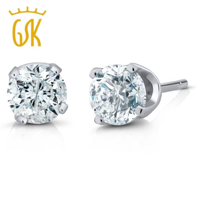 9086c130801e8 US $125.99 10% OFF|GemStoneKing IGI Certified 14K White Gold Women's  Earrings Natural Diamond Stud Earrings (1/4cttw, I J Color, I1 I2  Clarity)-in ...