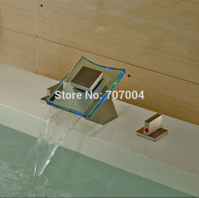 Luxury LED Color Changing Glass Waterfall Spout Basin Vessel Sink Faucet Deck Mount Hot Cold Brushed