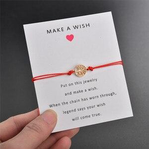 NEWBUY Lucky Red Thread Adjustable Wish Bracelets For Women Men Kids Gold Life Tree Charm Bracelet Best Gift For Birthday