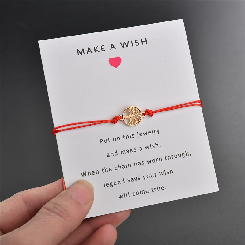 NEWBUY Lucky Red Thread Adjustable Wish Bracelets For Women Men Kids Gold Life Tree Charm Bracelet Best Gift For Birthday image