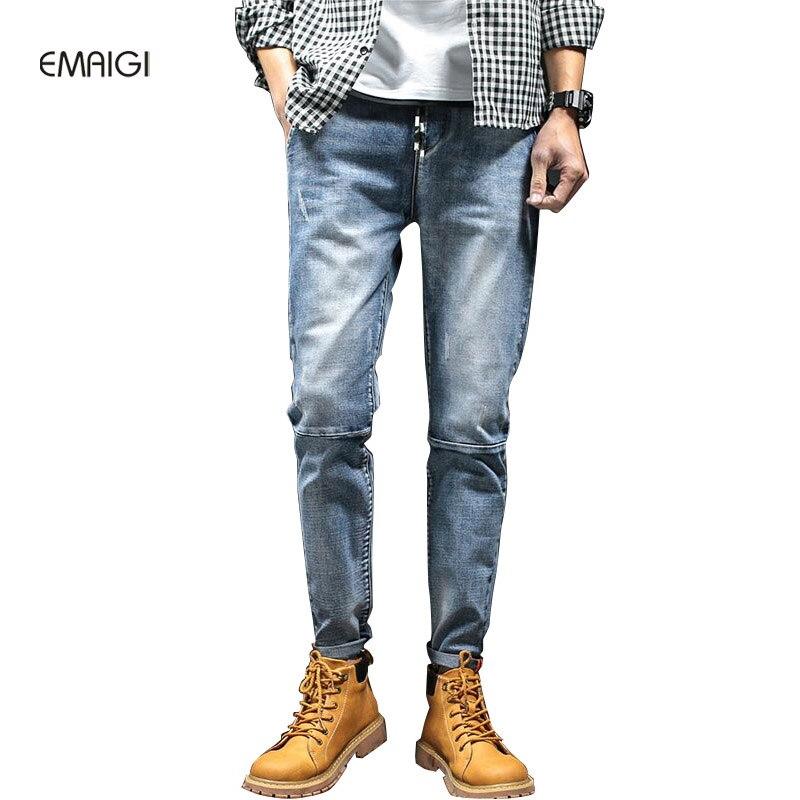 ФОТО Plus Size 27-40 Men Jeans High Quality Male Jean Fashion Casual Pencil Denim Trousers Men Elastic Waist Jean Pant