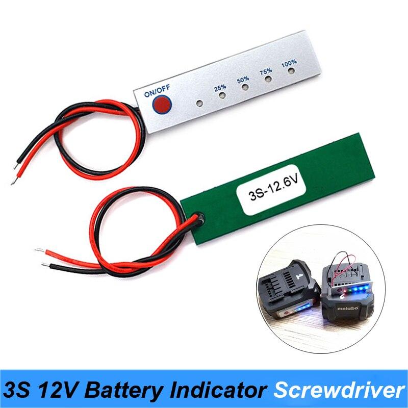 20 pièces 12 V batterie au Lithium testeur de capacité panneau électrique affichage de puissance panneau indicateur batteries pour tournevis utilisation Turmera JY