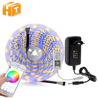 Mini Bluetooth Controller + LED Strip 5050 RGBW / RGBWW 5M 300LEDs Flexible Neon Tape Light + DC12V Power Adapter
