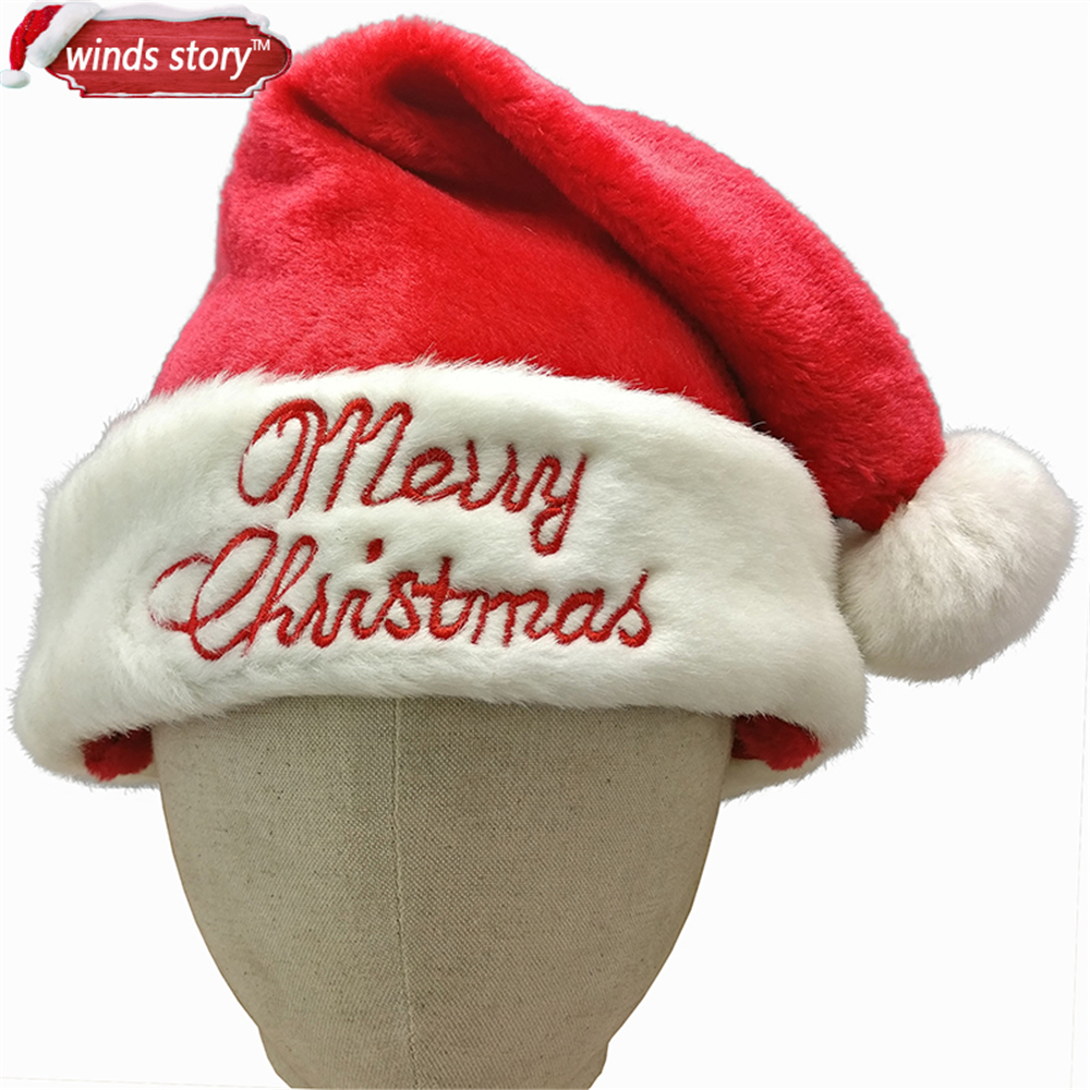 LOT OF 2 SANTA CLAUS HATS CHRISTMAS PLAYS FITS MOST PARTY FAVOR GIFT HAT