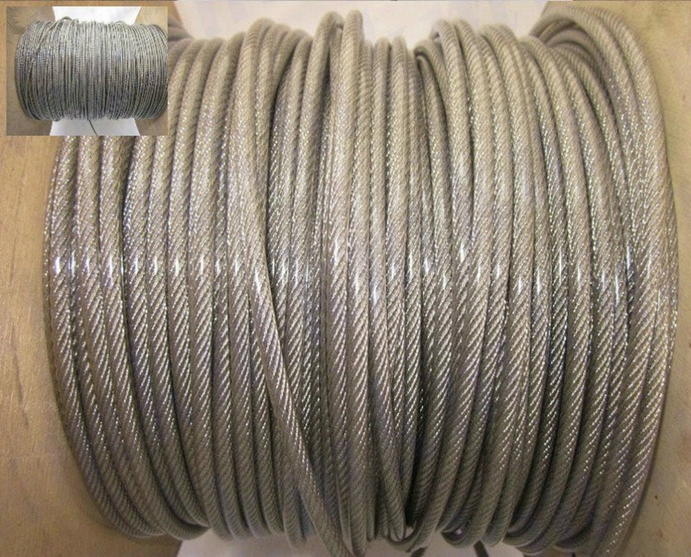 50M/Lot Overall Diameter 4.0MM Stainless Steel Wire Rope With PVC Plastic Coating (3.0MM Wire Rope With 0.5MM Coating) 10m lot 2mm high stainless steel wire rope tensile diameter 7x7 structure cable gray