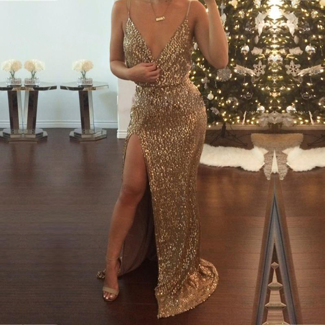 Latest Design spaghetti strap womens sequin maxi dresses High Split sexy Gold long dress Prom Ball Gown Party Dress