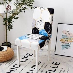 Image 1 - Parkshin moderne géométrique amovible housse de chaise extensible élastique housses Restaurant pour mariages Banquet pliant hôtel