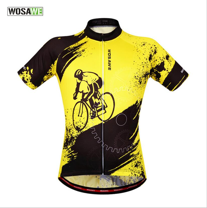 WOLFBIKE Summer Men's Cycling Clothings <font><b>Bike</b></font> Jerseys Short Team Cycling Wear Breathable <font><b>Bike</b></font> <font><b>Equipment</b></font> Yellow ropa ciclismo image