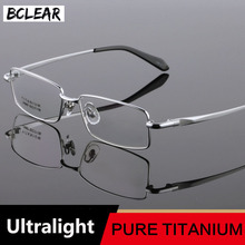 BCLEAR Klasik Gözlük Saf Titanyum Gözlük Çerçeve Erkek Gözlük Optik Reçete Okuma Açık Göz Lens Erkek Gözlük