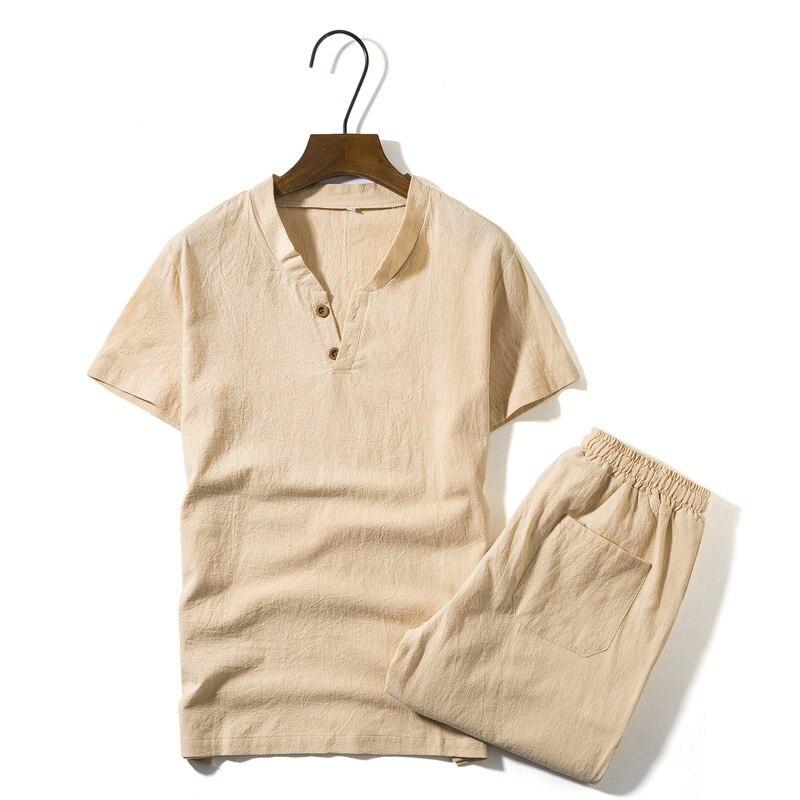 2018 New Men's Linen Sets Short Sleeve Summer Brand Vintage Fit Slim V Neck Casual Linen Suits For Men Fit Slim M~5xl BFM31