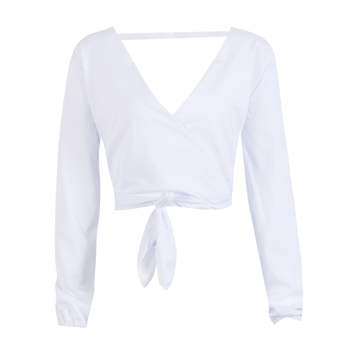 Women's Summer Long Sleeve <font><b>Shirt</b></font> Casual Crop Tops Deep V neck bangage <font><b>bow</b></font> <font><b>T</b></font> <font><b>Shirts</b></font> female <font><b>T</b></font>-<font><b>shirt</b></font> for women S to XL image