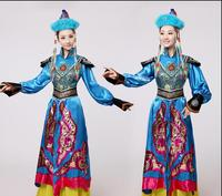 Blue Mongolian costume dance clothes for women Ancient princess dress stage performance clothing