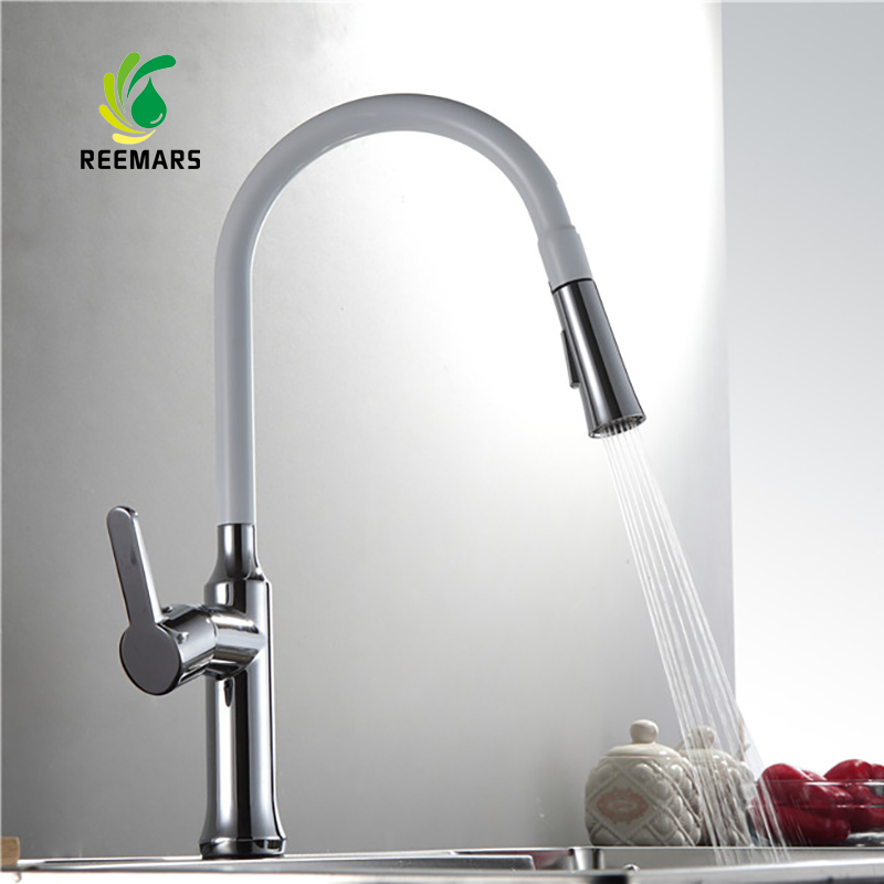 Genuine REEMARS Brass 360 Swivel Kitchen Faucet Pull Out Sink Mixer Tap White Kitchen Taps Single Handle Pull Out Kitchen Faucet new arrival pull out kitchen faucet chrome black sink mixer tap 360 degree rotation kitchen mixer taps kitchen tap