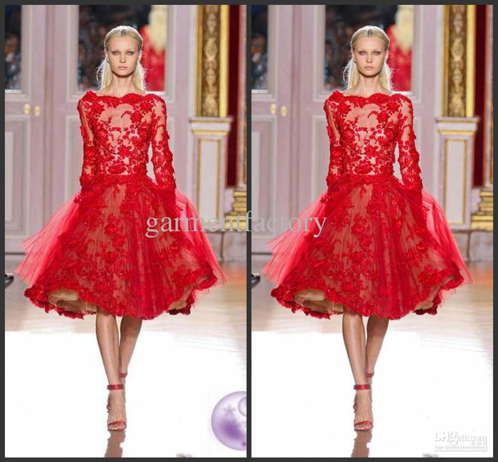 Best Selling Bateau long Sleeve Red Lace Zuhair Murad Short ...