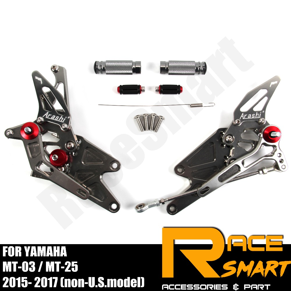 FOR YAMAHA MT-03 MT-25 MT03 MT25 2015 - 2017 Rear Footrests Foot Rest Pegs Pedal Motorcycle Accessories CNC Adjustable Rearset