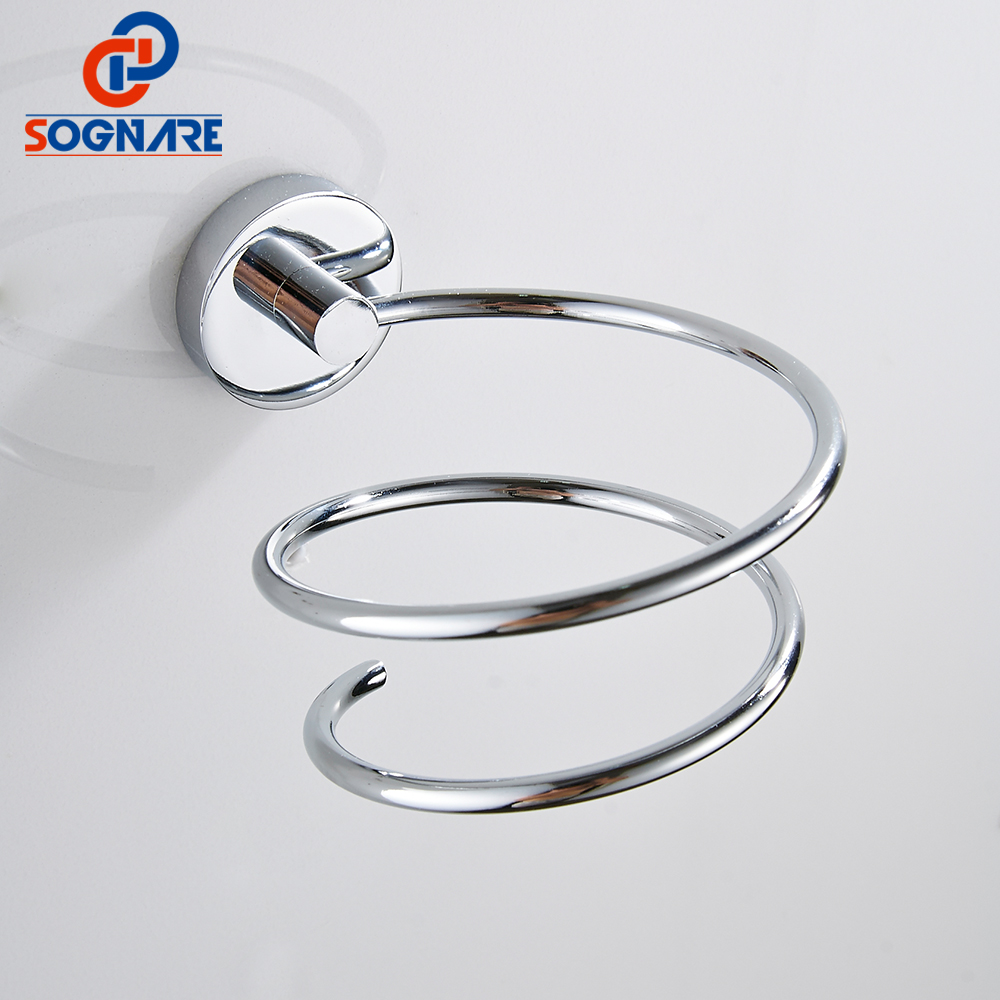 цена SOGNARE Brass Bathroom Hair Dryer Holder Chrome Wall Mount Storage Hairdryer Support Spiral Stand Holder Bathroom Accessories