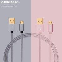 Momax D'origine 2 m Tressé Cordon Micro USB Connecteur Câble de Données Téléphone intelligent USB Chargeur Câble pour Samsung S7 Huawei Android téléphone