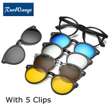 Optical Spectacle Frame Women Men With 5 Clip On Sunglasses Polarized Magnetic Glasses For female Myopia Eyeglasses(China)
