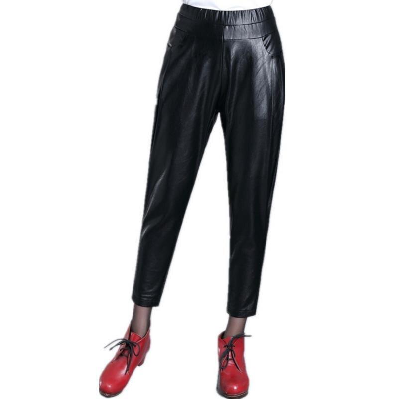 new Women Black PU Leather Elastic Waist Harem Pants Capris Pocket Loose Casual Trousers Women