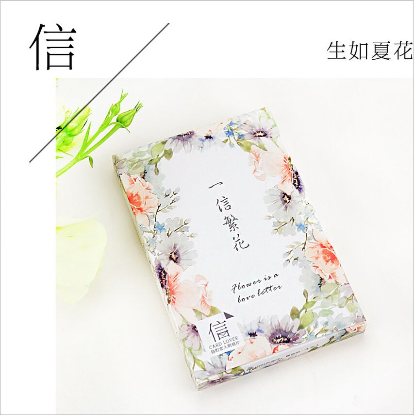 30Pcs/Pack Blossoming Flowers English Love Letter Greeting Card Postcard Birthday Gift Card Set Message Card Blessing Cards