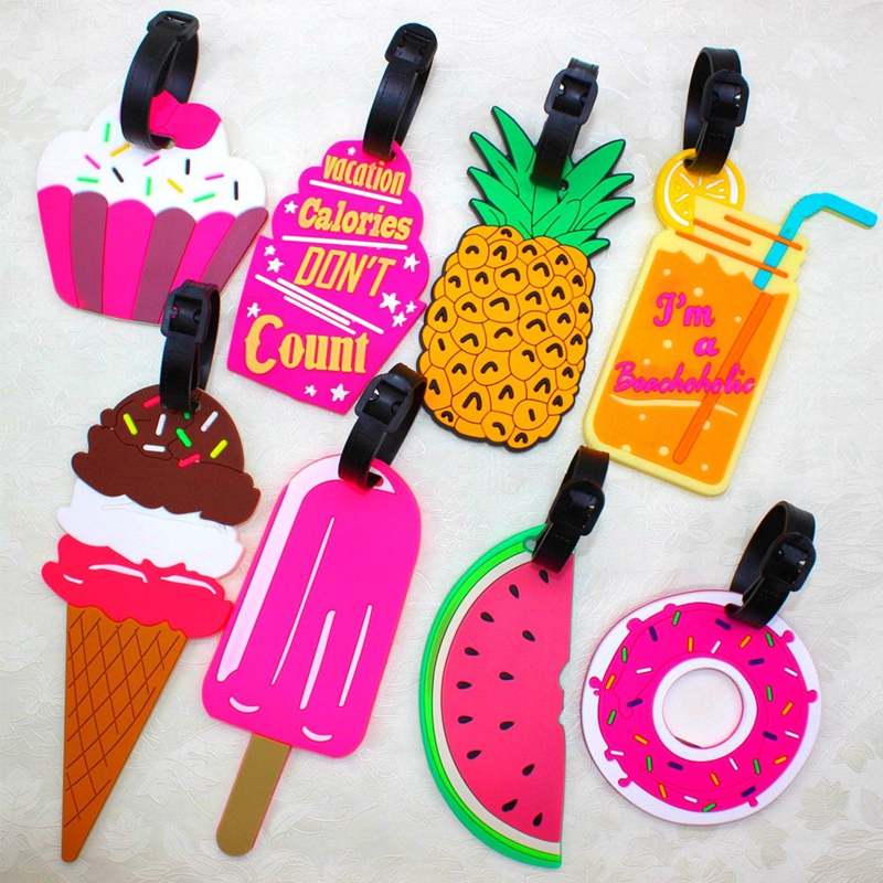 Kawaii Food Shape Suitcase Luggage Tag Cartoon ID Address Holder Silicone Baggage Label  Portable Label Travel Accessories