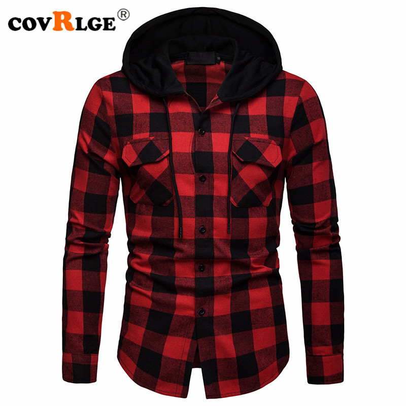 Covrlge New Autumn/winter Plaid Double Pocket Hooded Casual Mens Checked Long Sleeve Shirt MCL207