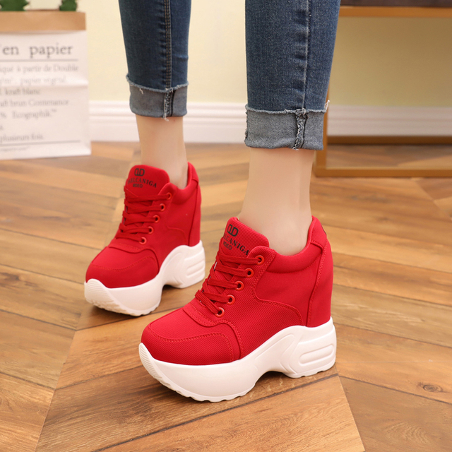Women Sneakers Mesh Casual Platform Trainers White Shoes 10CM Heels Autumn Wedges Breathable Woman Height Increasing Shoes  31