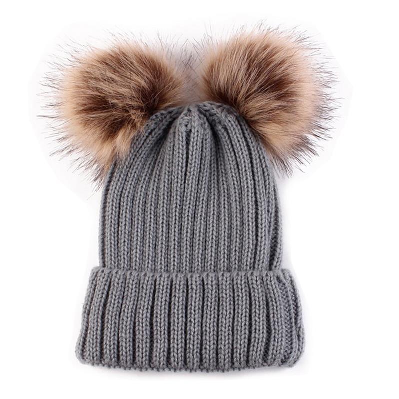 4193aaba6ff Dropwow 2018 Adult Baby Beanies Double Faux Fur PomPom Hat Winter ...