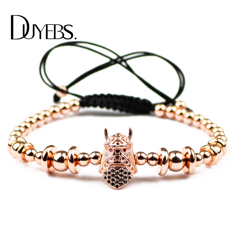 DUYEBS Warrior Helmet Charms Men 4/6mm Copper Beads Bracelet Zircon CZ Braided Rope Women Rose Gold Color Fashion Bangle Jewelry