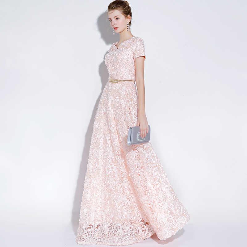Ladybeauty banquete elegante vestido de noite simples laço rosa floor-length vestidos formais com cinto vestido de festa personalizado robe de soiree